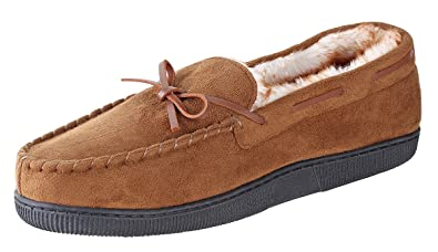 c89076ed715f02 Urban Fox Mens Moccasin Slippers - House Slippers Shoes - Micro Suede - Moccasins  for Men | Faux Fur Lining | Franklin | Comfortable Indoor Outdoor Slippers  ...