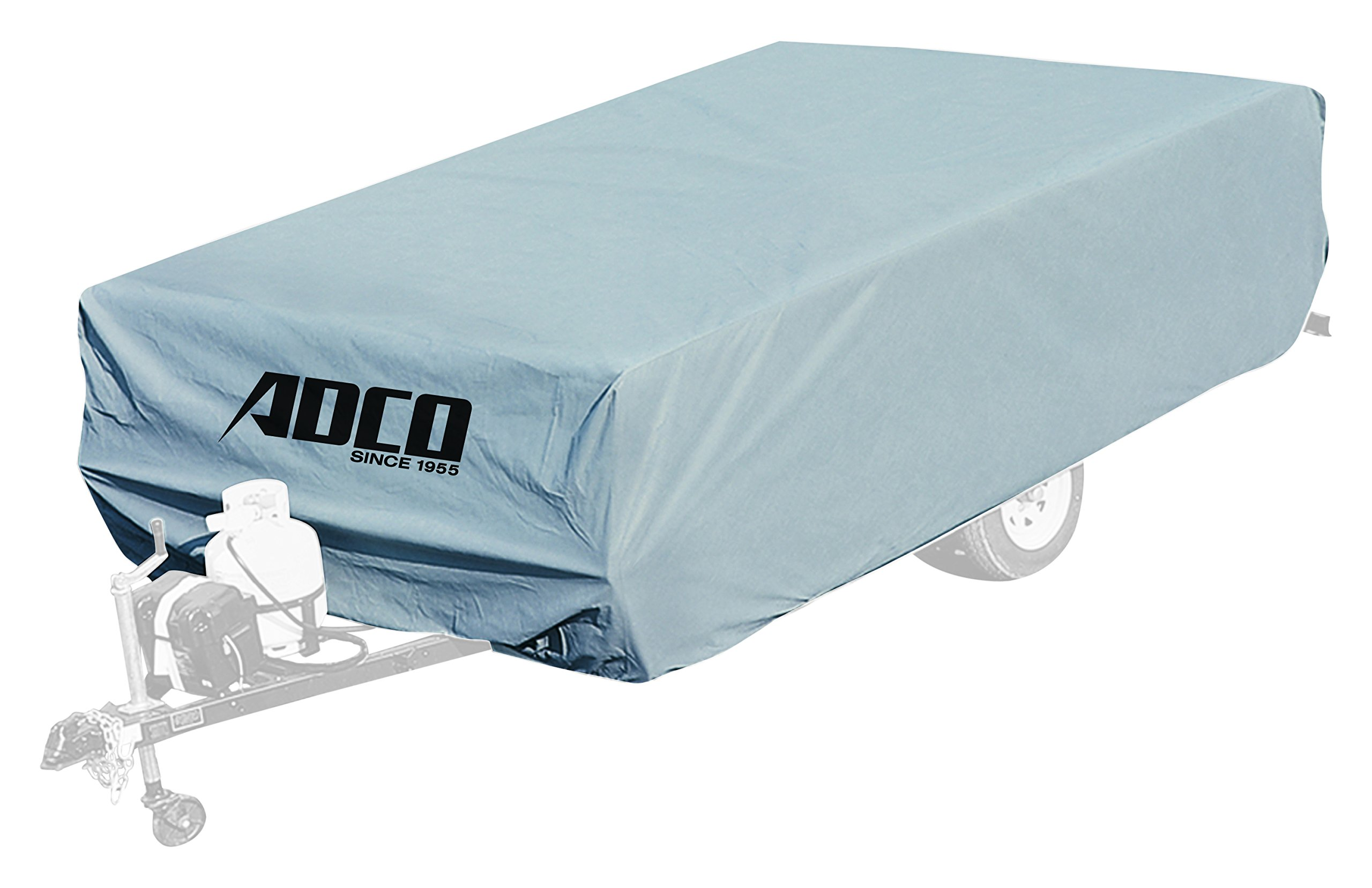 ADCO 2891 Pop Up Folding Trailer Polypropylene Cover, Fits 8'1'' - 10' Trailers, Gray/White by ADCO