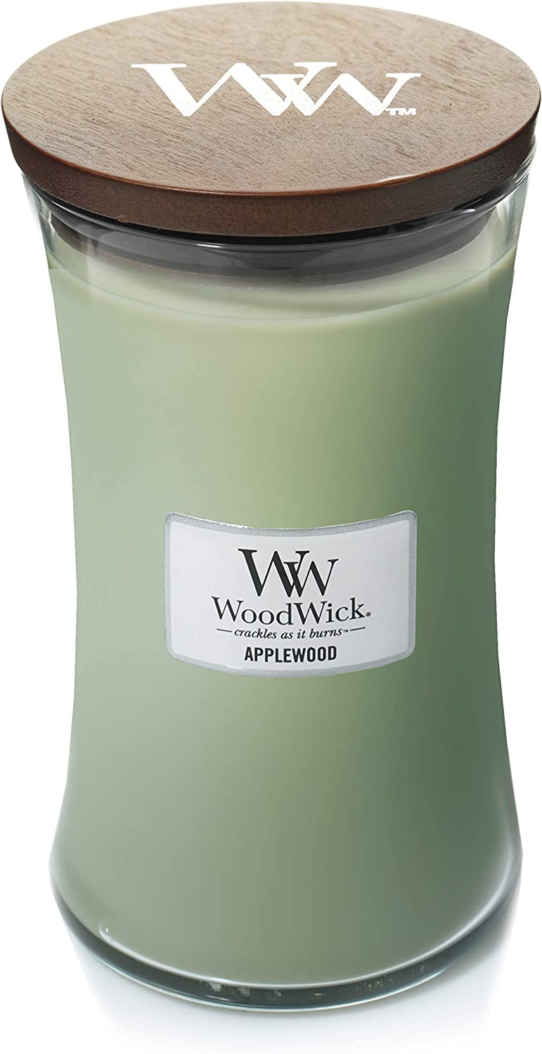 WoodWick Everyday Applewood Hourglass Candle, Youth Large / 11-13, Pale Green