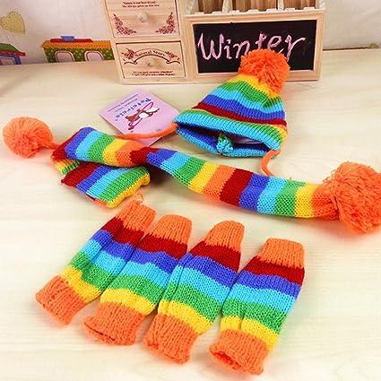 9c33da92e92 Amazon.com   M-Egal Pet Winter Knitted Hat Pom-Pom Scarf Clothes And ...