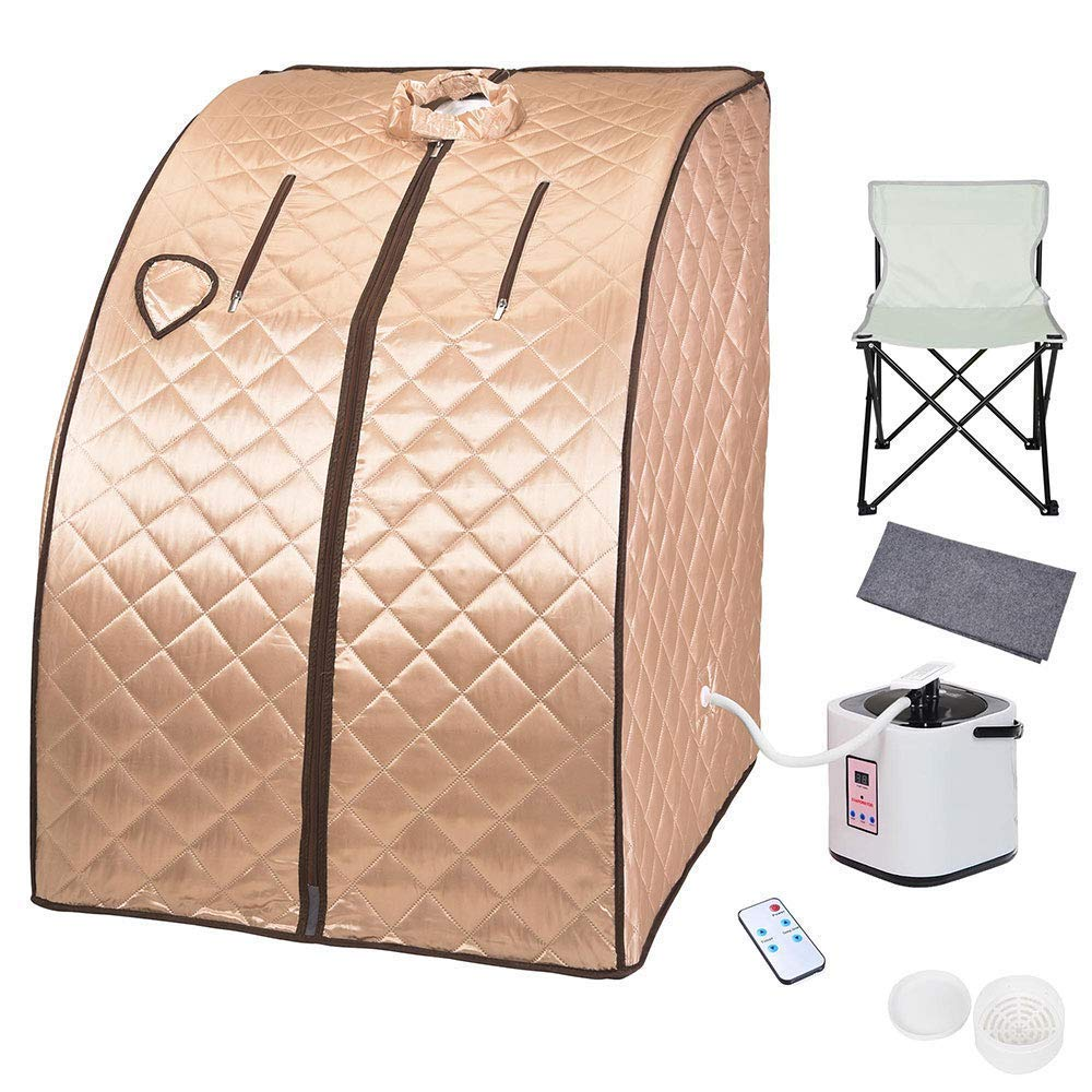 AMPERSAND SHOPS Portable Personal Spa Detox Sauna Kit Weight Loss Steamer Chair Remote Control Herbal Steam Pot
