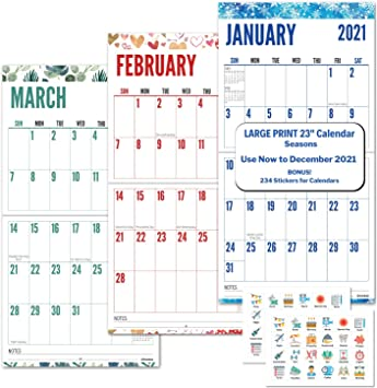 Amazon.: CRANBURY Large Print 2021 Calendar   (Seasons), 12x23