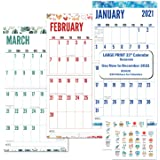 CRANBURY Large Print 2021 Wall Calendar (Seasons), 12x23, Use to December 2021, Stunning Big Grid Wall Calendar for…