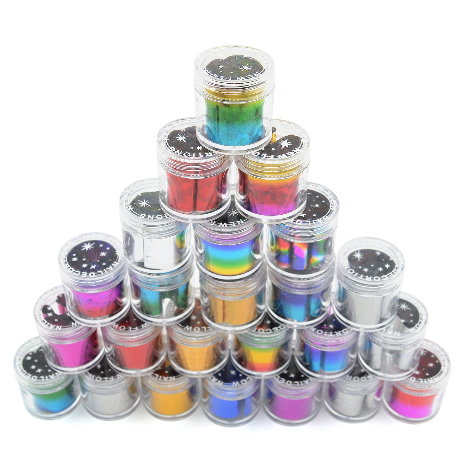 iNewcow Starry Sky Stars Nail Art Stickers Tips Wraps Foil Transfer Adhesive Glitters Acrylic DIY Decoration (24PCS 24Colors) by iNewcow