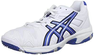 premium selection 30c17 eeb7f ASICS Kids Gel Resolution Oc Gs White Royal Blue Lightning Tennis And  Racquet Sports