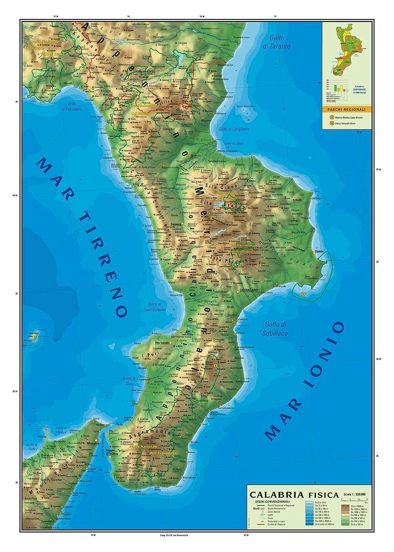 Regione Calabria Cartina.Carta Geografica Murale Regionale Calabria 100x140 Bifacciale