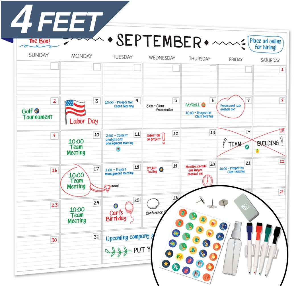 Large Dry Erase Wall Calendar - 36'' x 48'' - 2018 Jumbo Monthly Task Organizer - Giant Erasable Oversized Planner for Home Office Business Classroom Dorm Room - Giant & Undated Deadline Task Planner