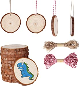 """Fezzia Unfinished Wood Slices 26 Pcs 3.1""""-3.5"""" Diameter 0.4"""" Thick Natural Predrilled with Hole Craft Wood Kit Wooden Circles Great for Arts and Crafts Christmas Ornaments DIY Crafts Gifts"""