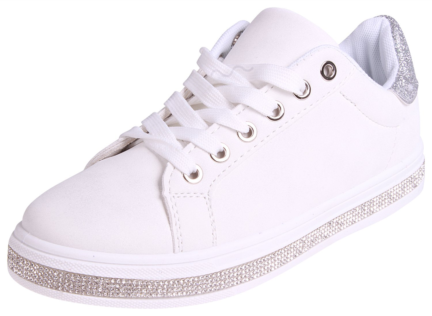 Enimay Womens Glitter Fashion Sneakers Lace Up Shoes White Size 8