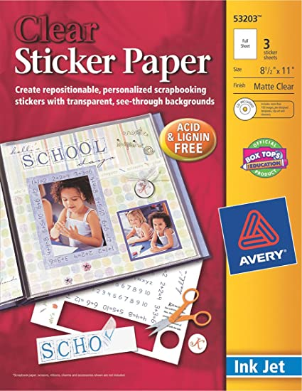 Avery sticker paper clear 8 1 2 x 11