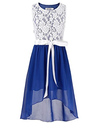 iEFiEL Girls Kids Lace Chiffon Formal Evening Dancewear Wedding Birthday Party Princess Flower Dress Blue 5