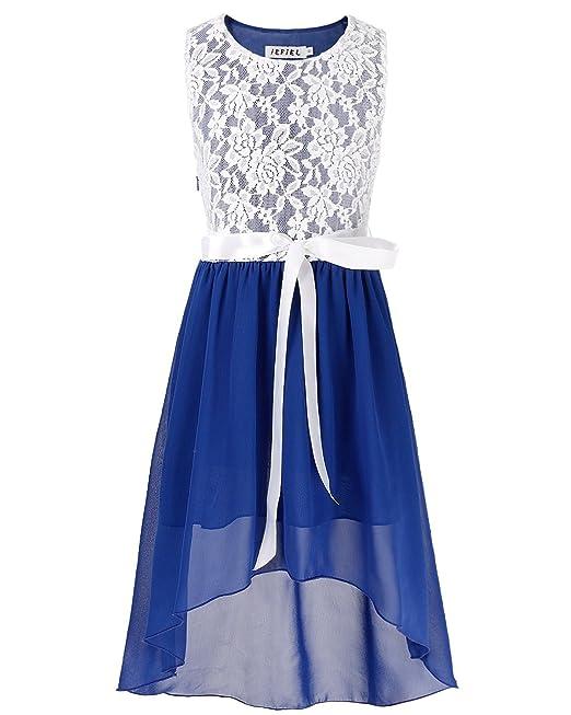 iEFiEL Vestido Floreado de Fiesta Boda Bautizo Verano para Niña Vestido Infantil Azul 6 Años
