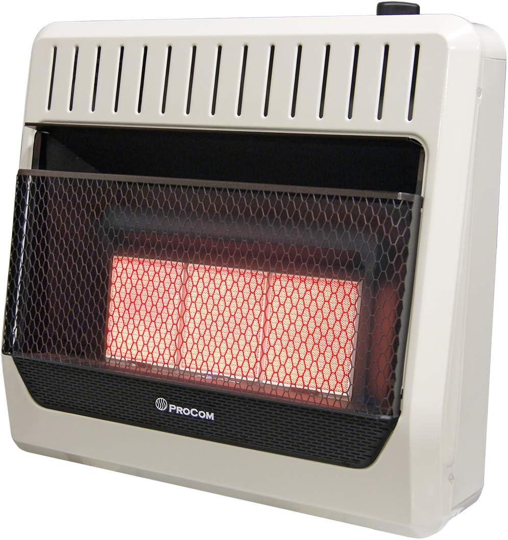 ProCom MN3PHG Heating Natural Gas Ventless Infrared Plaque Heater, 30,000 BTU, Black