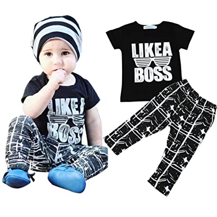 8c019ed88 Amazon.com: Hot Sale ! Boys Clothes, Kstare Toddler Kids Baby Boy Letter T  Shirt Tops Pants Outfits Clothes Set (80/12M, Black): Clothing