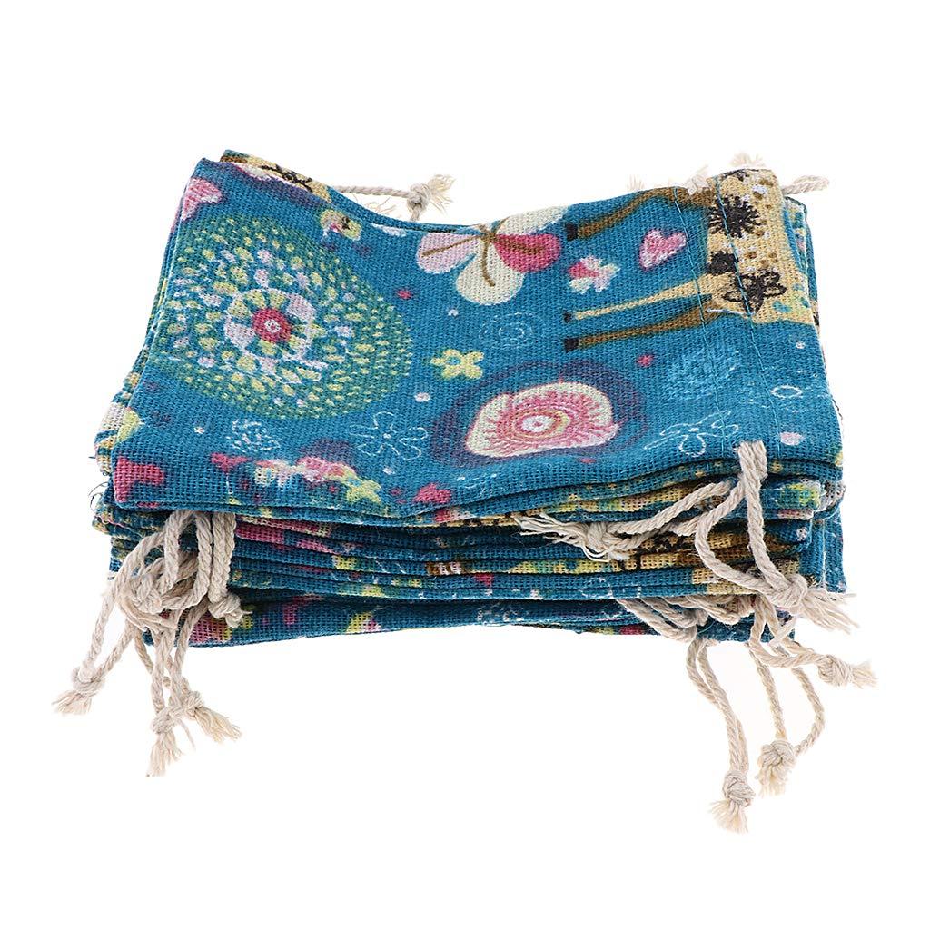 12 Piezas Hierba B Baosity Bolsa de Yute 14x10x0.3cm