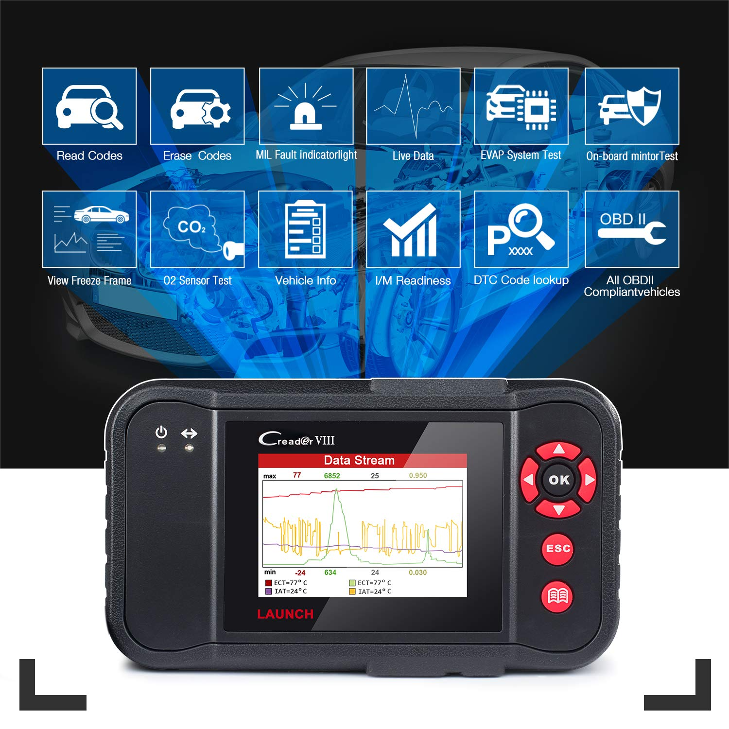 LAUNCH Black X431 Creader VIII (CRP129) OBD2 Diagnostic Scan Tool ENG/at/ABS/SRS Code Reader Scanner with EPB SAS Oil Reset Function by LAUNCH (Image #3)