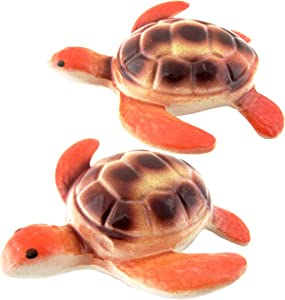Floating Ceramic Turtle Figurine- Sea Turtle for Pond Decoration, Water Fountain Outdoor Garden - 4.5 Inch, Set of 2 (Tangerine)