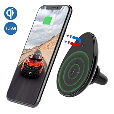 Magnetic Car Mount Phone Holder Air Vent Mount by ICONFLANG,Wireless car Charger Mount,Fast Charger,Compatible with Cell Phone for iPhone Xs//XR//Xs Max//X//8//8 Plus with 2 Metal Plates Black