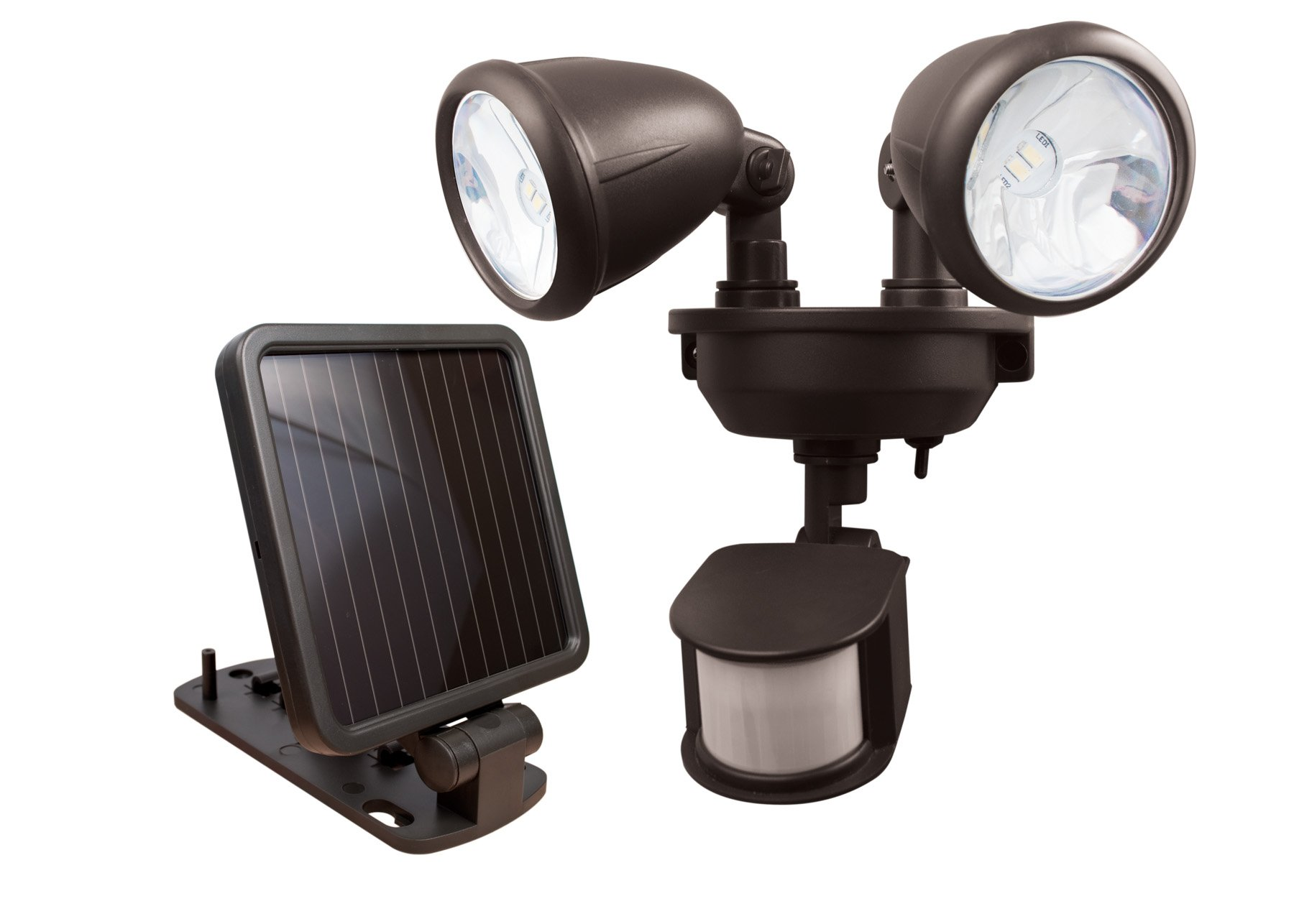 MAXSA Solar-Powered LED Dual-Head Motion Activated Security Lights for Porches, Sheds, Patios, & Barns, Dark Bronze 44216