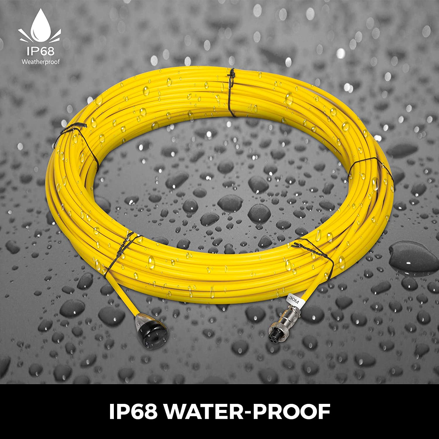 VEVOR 98.4ft//30M PVC Cover Fiberglass Sewer Camera Cable Inspection Wire Yellow Drain Pipe Sewer 5.5mm IP68 Waterproof Pipe Pipeline Inspection Camera Cable