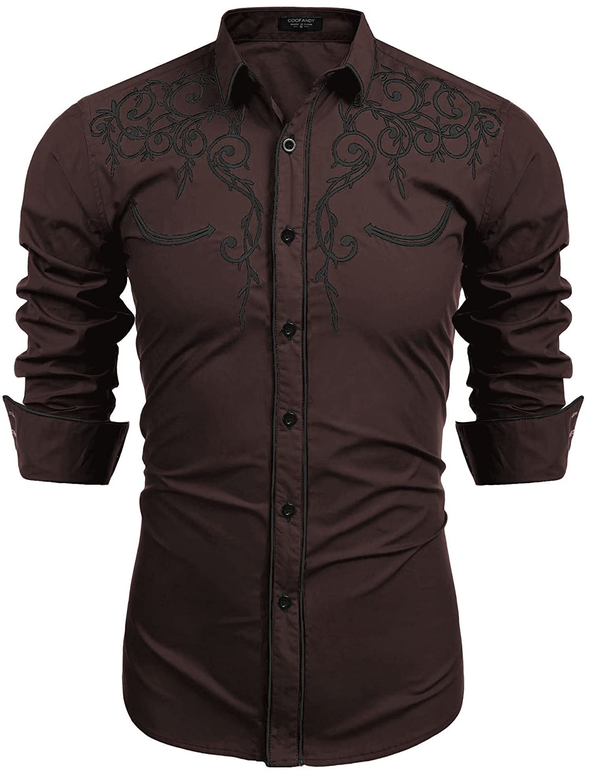 COOFANDY Mens Long Sleeve Embroidered Shirt Slim Fit Casual Button Down Shirts