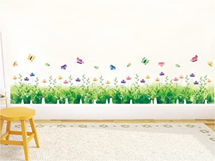 Amazon Brand - Solimo Wall Sticker for Bedroom (Natures Floral Fence, Ideal Size on Wall, 137 cm x 33 cm)
