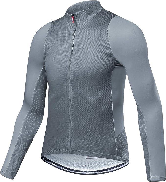Men Cycling Jacket Skin-friendly Long Sleeves Jersey Reflective Rain Sportswear