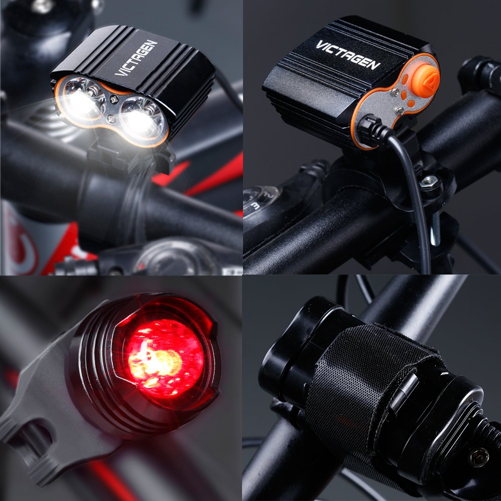Victagen Bike Front Light,Super Bright Waterproof Bicycle Light,USB Rechargeable 2400 Lumens led Cycle Light, Free Tail Light,Easy to Install Safety LED Flashlight Cycling,Commuting,Riding by Victagen (Image #2)