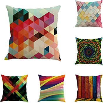 chezmax linen blend abstract colorful geometry pattern sofa seat