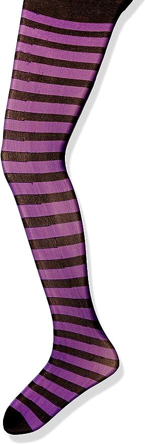 Purple Black Striped Childrens Tights
