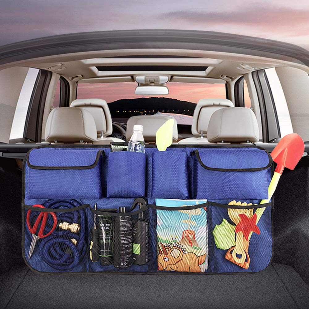 QUEES Car Trunk Backseat Organizer Storage Hanging Bag Pockets Container for SUV Van Blue