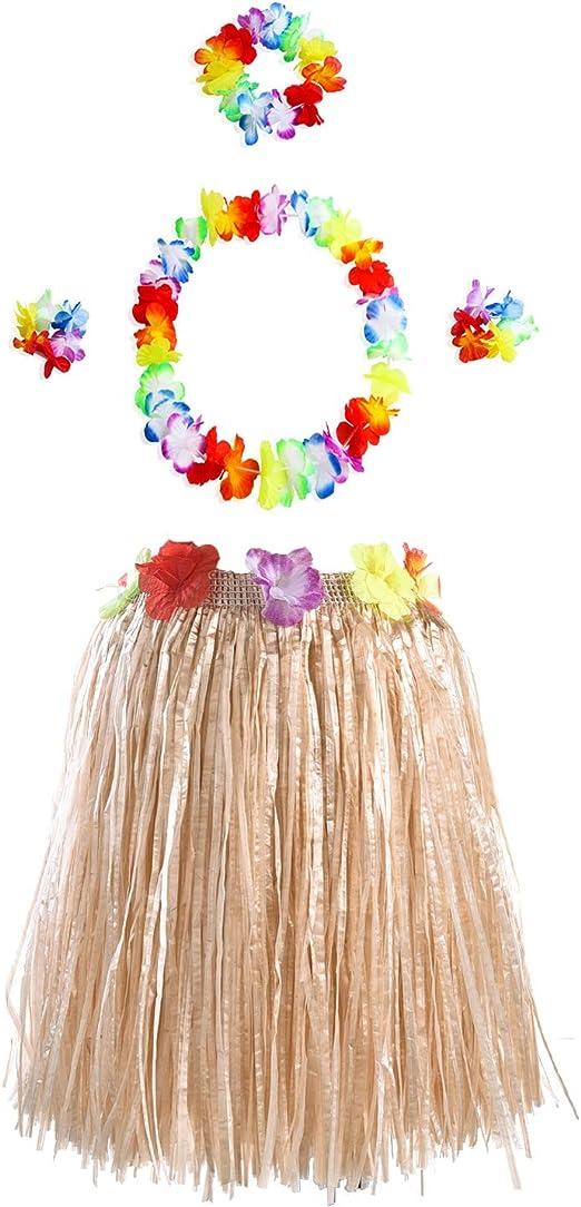 Tomkity 5pz Kit Trajes de Hawaiana Falda de Hula + Diadema de ...