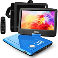 """SUNPIN 12.5"""" Portable DVD Player for Car and Kids with Headrest Mount, 10.1"""" HD Screen, 5 Hours Rechargeable Battery, Remote Control, Car Charger Wall Charger, Region Free, Ideal for Road Trip, Blue"""