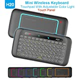 WESOPRO 2.4GHz Mini Wireless Remote Keyboard Mouse IR Leaning H20 with LED Backlit Multi-Touch Touchpad by WESOPRO, USB Rechargeable for Android TV Bo
