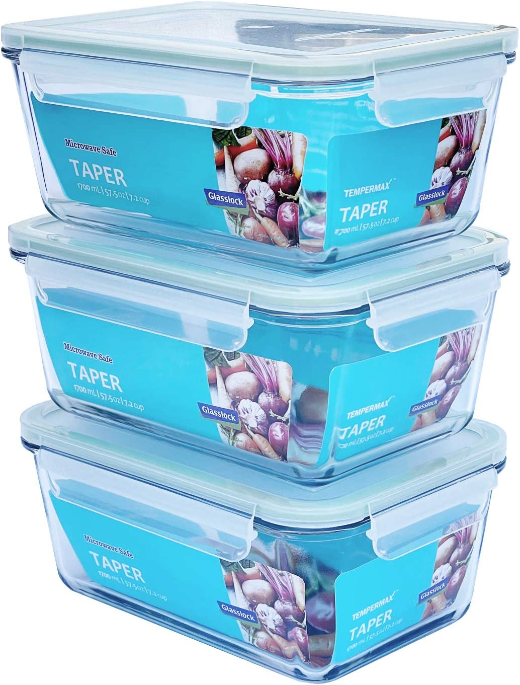 Glasslock Taper Rectangular Glass Food-Storage Container with Locking Lids Anti-Spill Microwave Safe 57.5 oz / 1700 ml 6pc Set