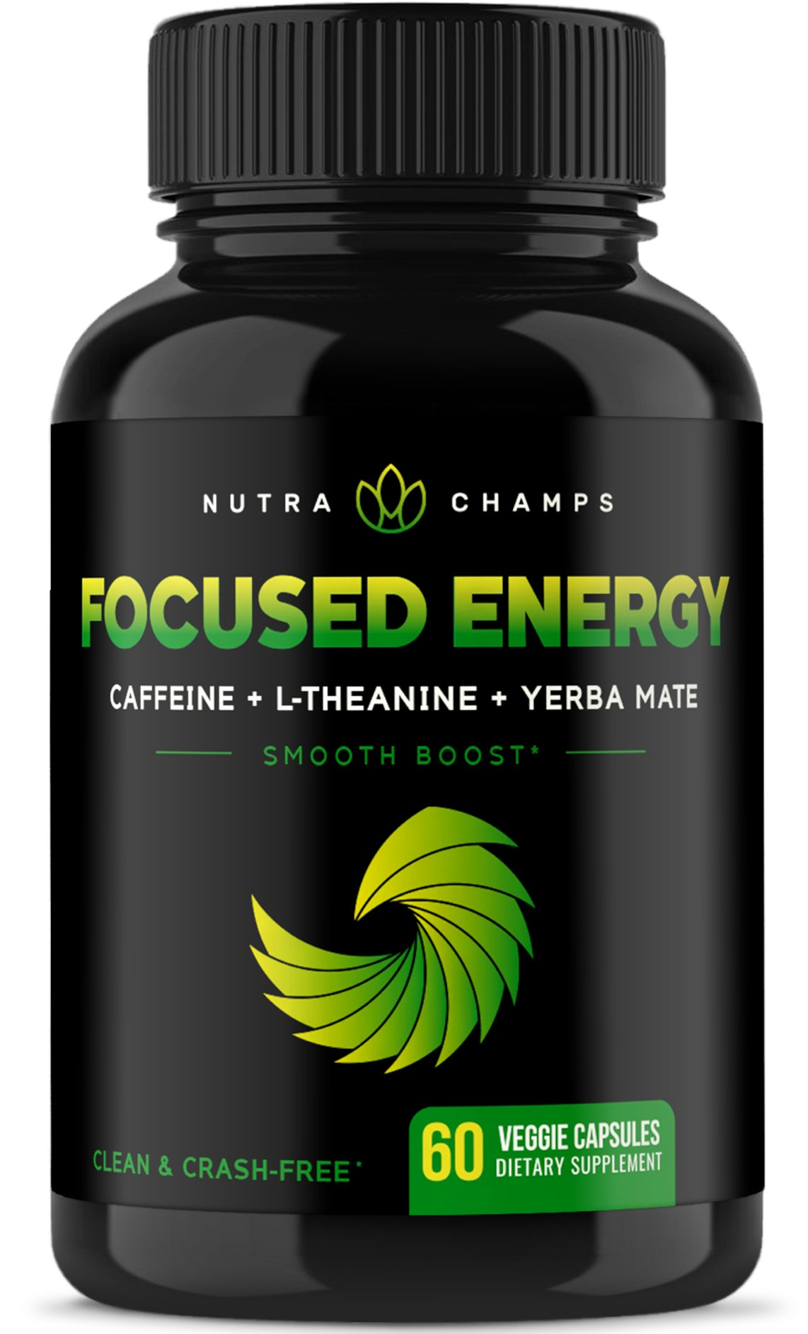 Caffeine with L-Theanine for Energy & Focus - Smooth & Clean Focused Energy - Premium Cognitive Stack with Yerba Mate for Performance - No Crash, No Jitters - Vegan Capsules by NutraChamps