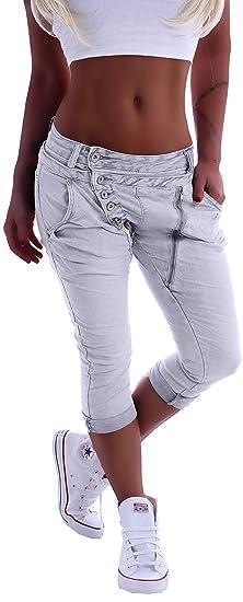 Damen Jeans Hose Baggy Boyfriend Chino black Denim