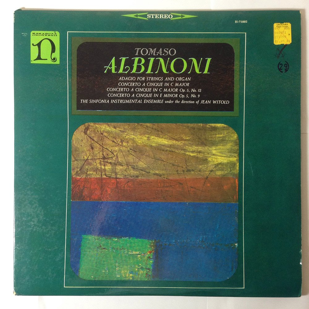 Albinoni: Adagio for Strings and Organ, Etc.: Tomaso