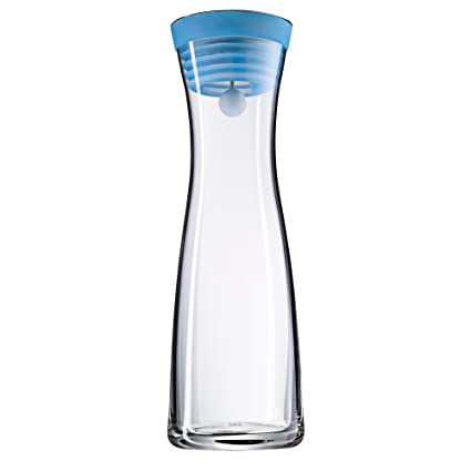 WMF Basic - Botella de agua de cristal, sistema Close Up, Sin accesorios, Azul, 1,0 litros
