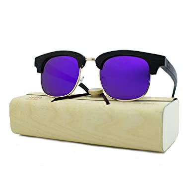 c6c29166b7 Amazon.com  100% Real Wooden Clubmaster Sunglasses for Men and Women ...
