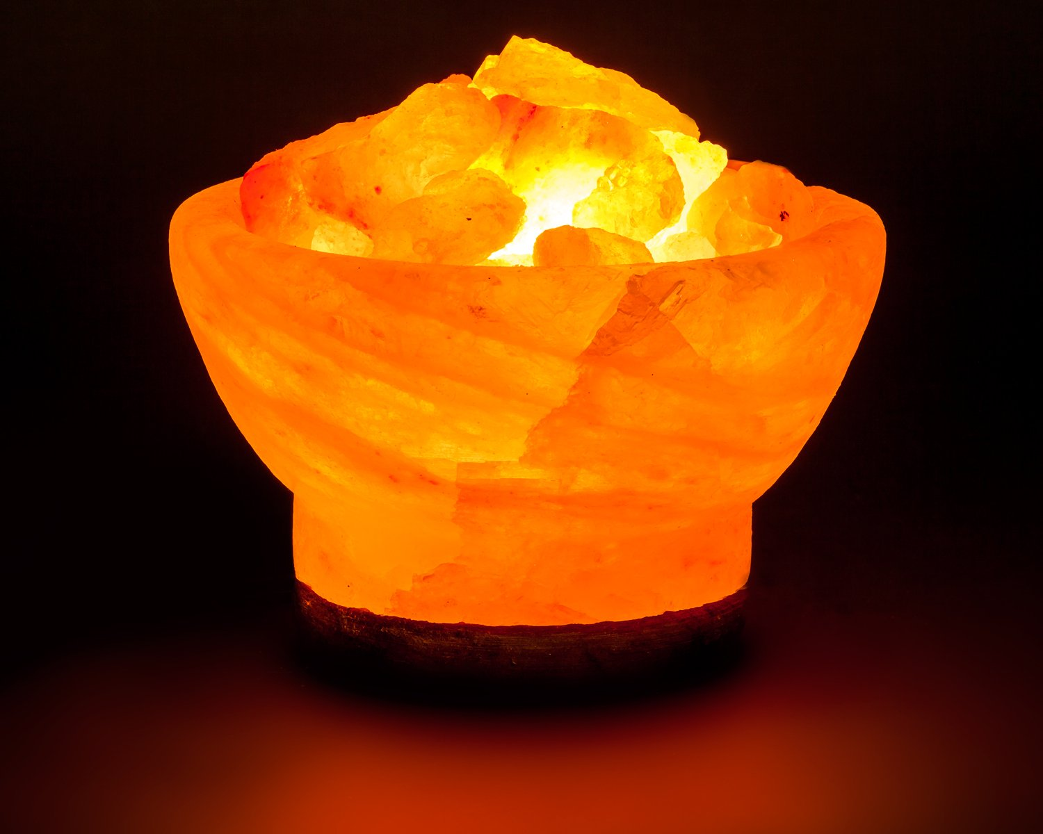 Mockins 6 Hand Crafted Natural Himalayan Salt Lamp Salt Bowl Lamp with Chunks of Himalayan Salt Rocks with a Beautiful Wooden Base and Light Bulb