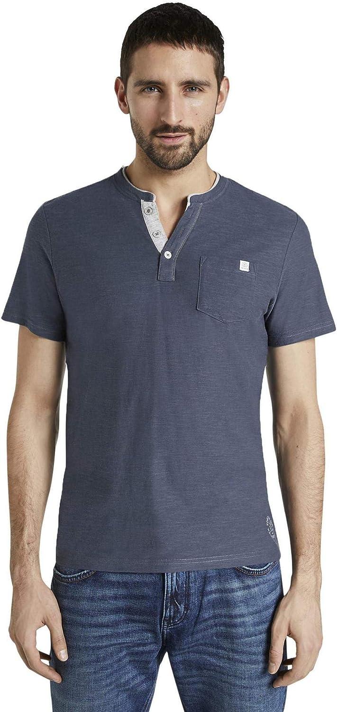 Tom Tailor Kurzarm Henley Camiseta para Hombre