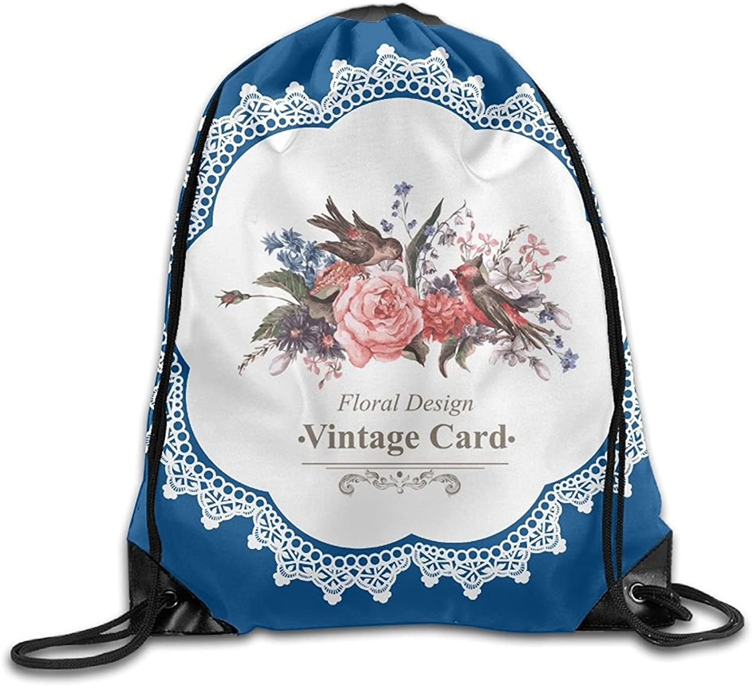 Floral Design Card Personalized Gym Drawstring Bags Travel Backpack Tote School Rucksack