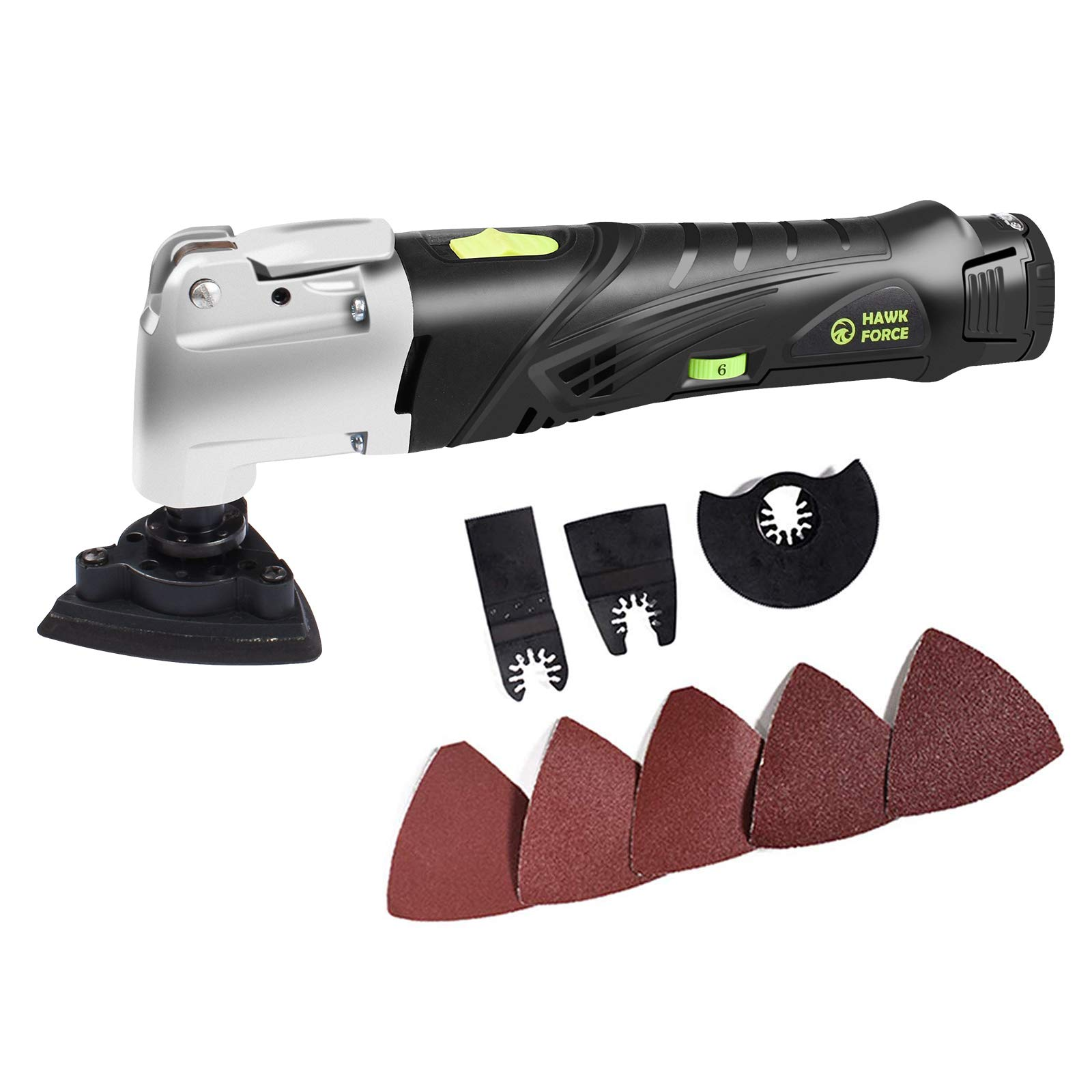 HAWKFORCE 12V MAX Cordless Multi-Purpose Oscillating Tool with 6 Variable Speeds, Keyless Tool Changing and 9pcs Accessories Set Multi Tool Kit for Grout Removing, Scraping, Cutting,Sanding