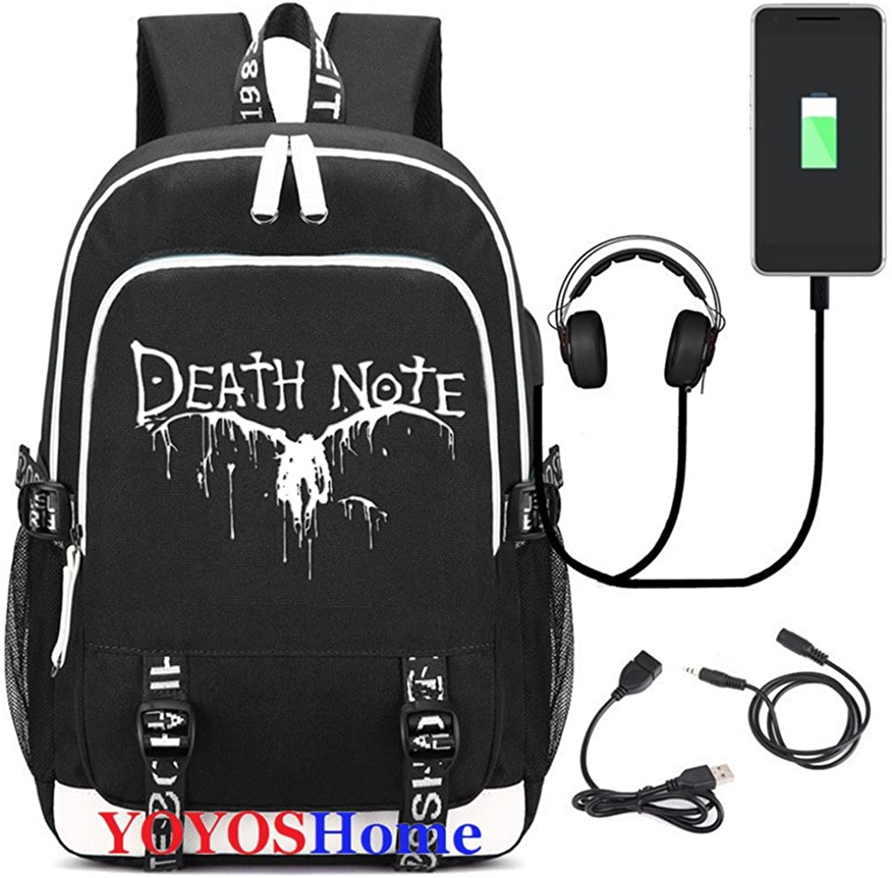 YOYOSHome Luminous Japanese Anime Cosplay Daypack Bookbag Laptop Bag Backpack School Bag with USB Charging Port