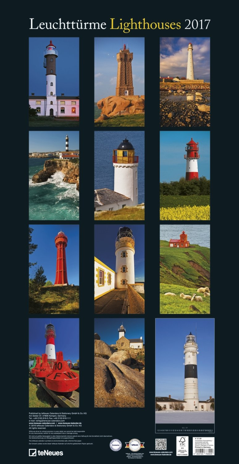 2017 Lighthouses Slim Poster Calendar - teNeues - 33 x 64cm by teNeues Calendars & Stationery