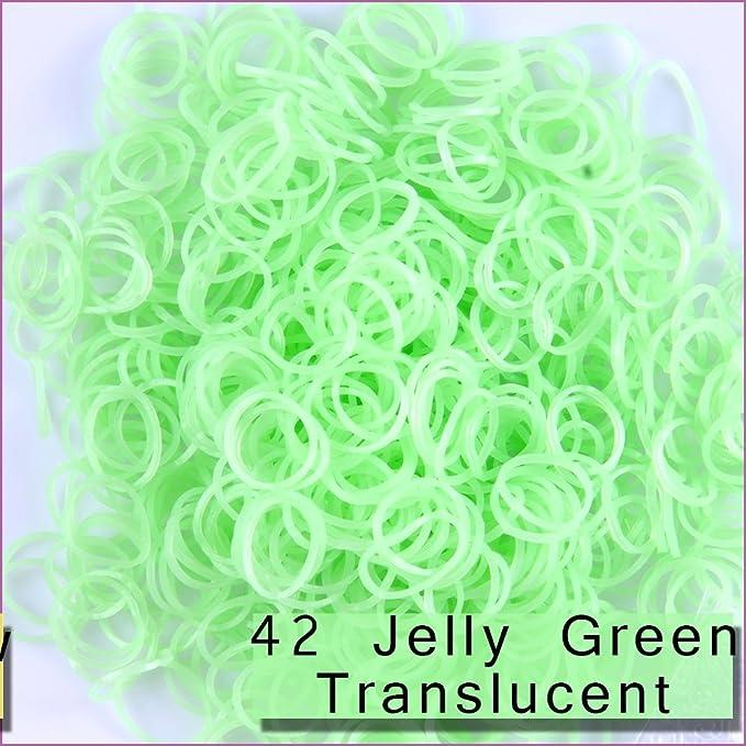 43 Jelly Blue Translucent 1800 PCS 72 Clips Bands Refills for Loom Rainbow Bracelet Dress Making TM Kirinstores