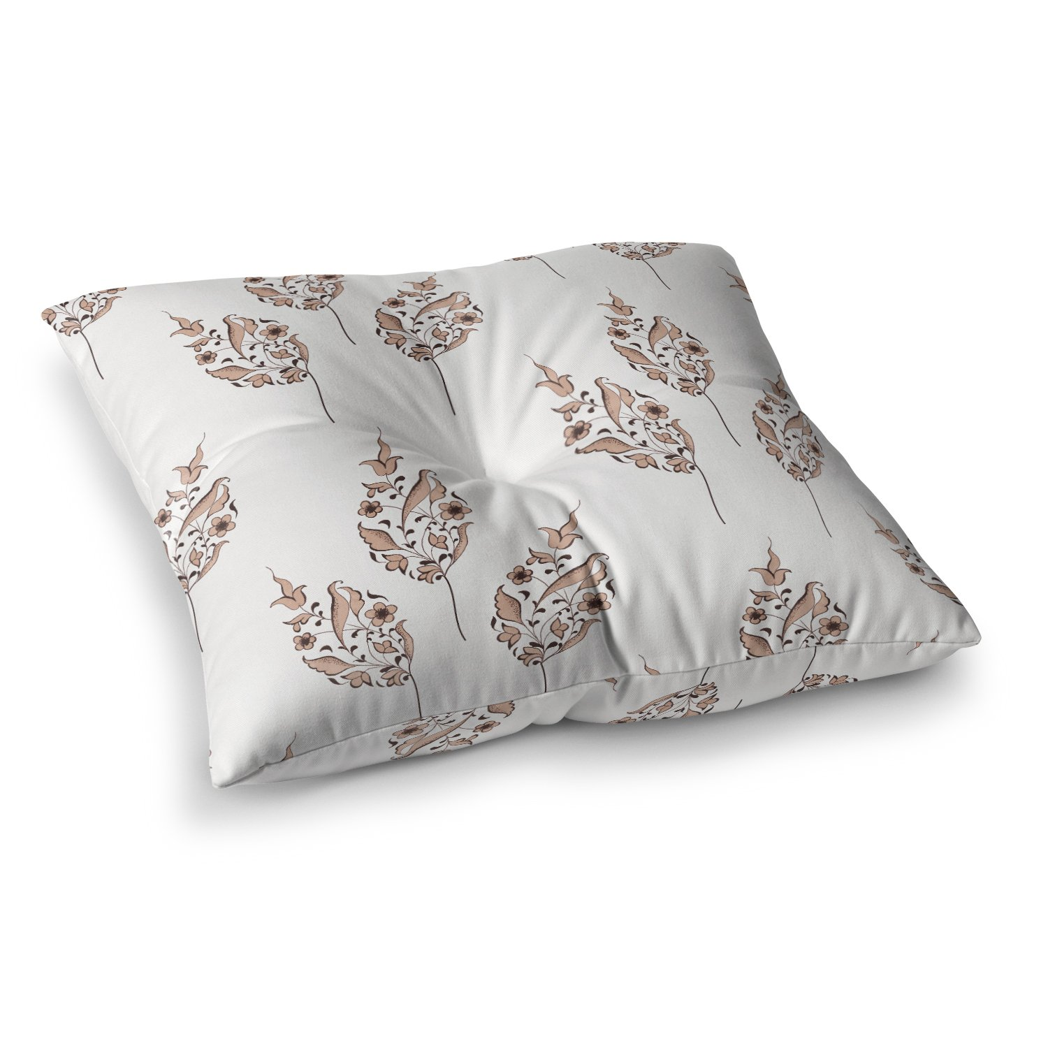 26 x 26 Square Floor Pillow Kess InHouse Louise Pattern Brown Flower