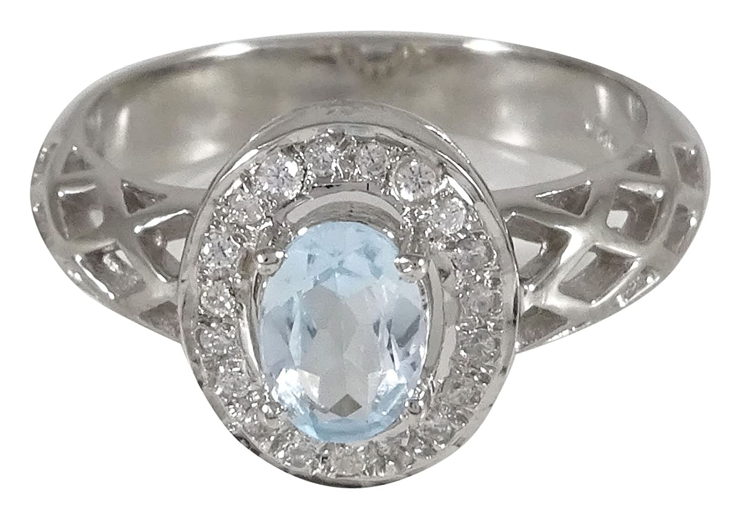 Banithani 925 Sterling Silver Aquamarine Gemstone Ring New Indian Fashion Women Jewelry GPL-SJR16I