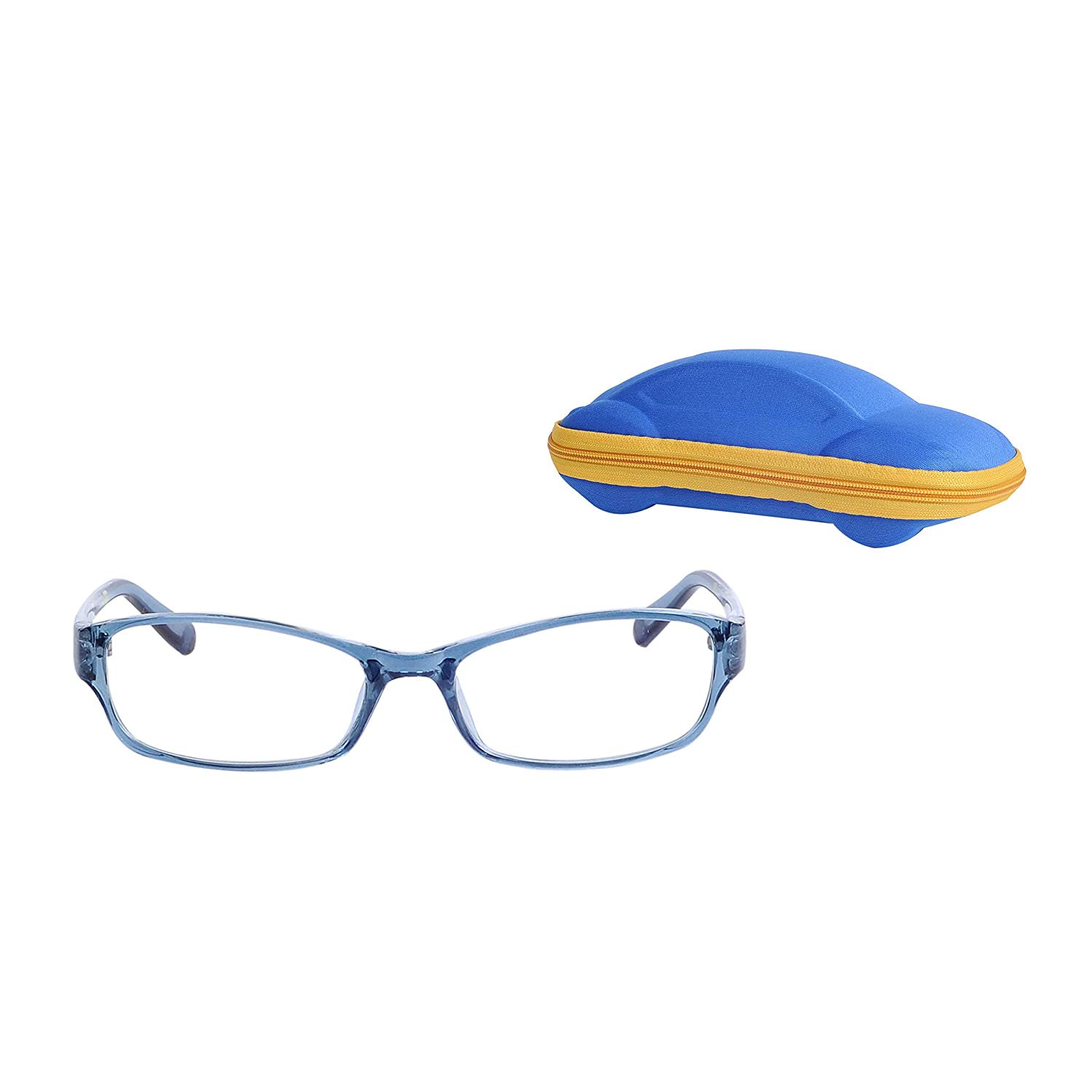 Kids Glasses Frame Girls Boys Eyewear Plain Clear Lens with Car-Shape Glasses Case